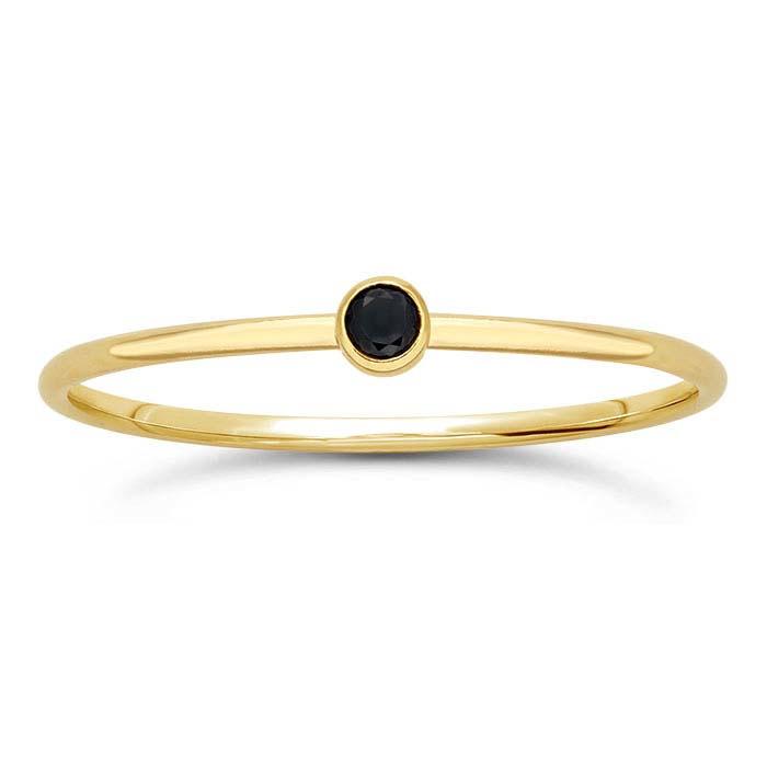 Black stone ring // Goldfilled