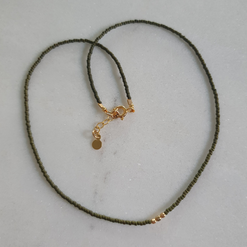 Minimalist necklace // Olive green gold
