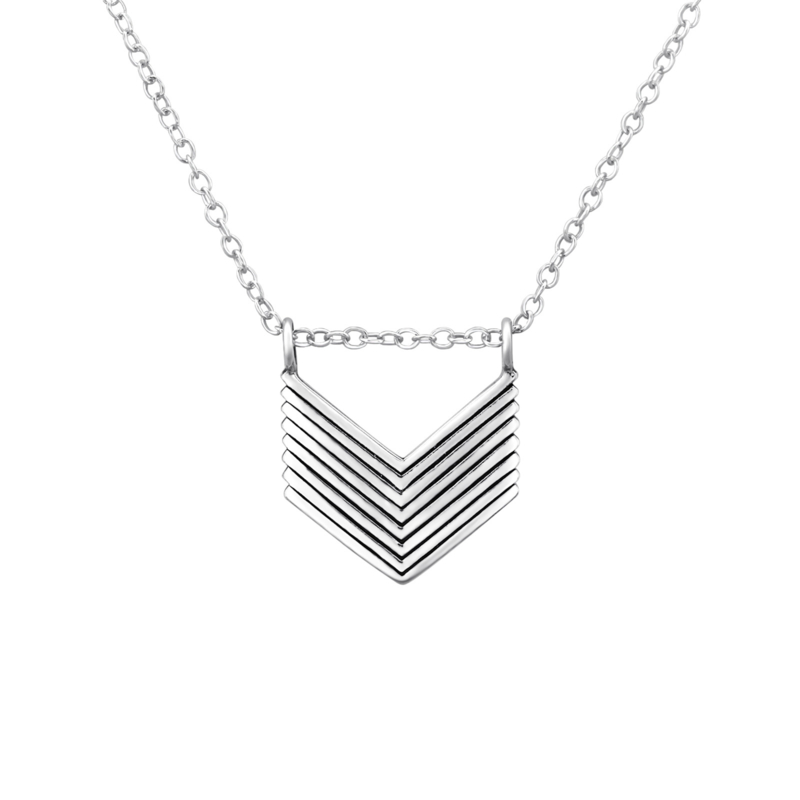 Chevron necklace //  925 silver