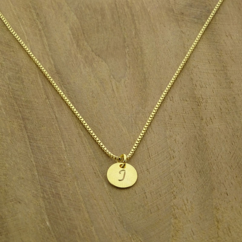Initial charm necklace // Goldfilled