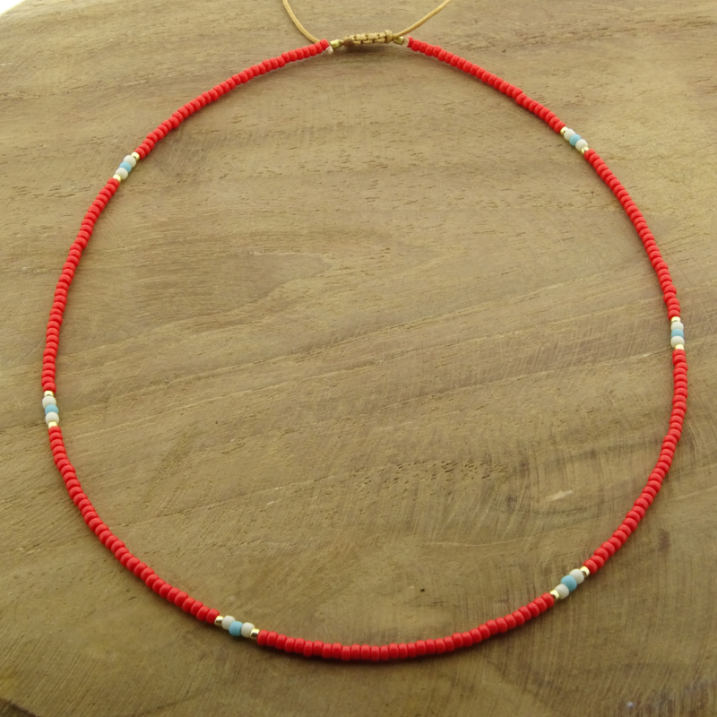 Basic Bright Red Necklace // Gold