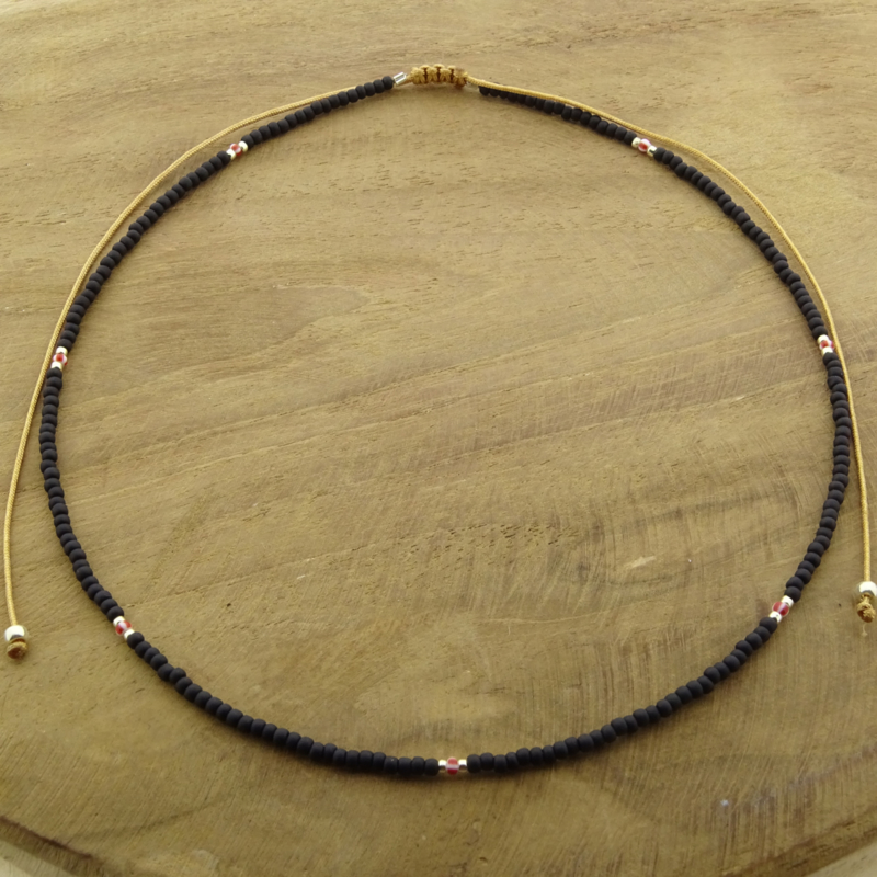 Basic Black Necklace // Silver