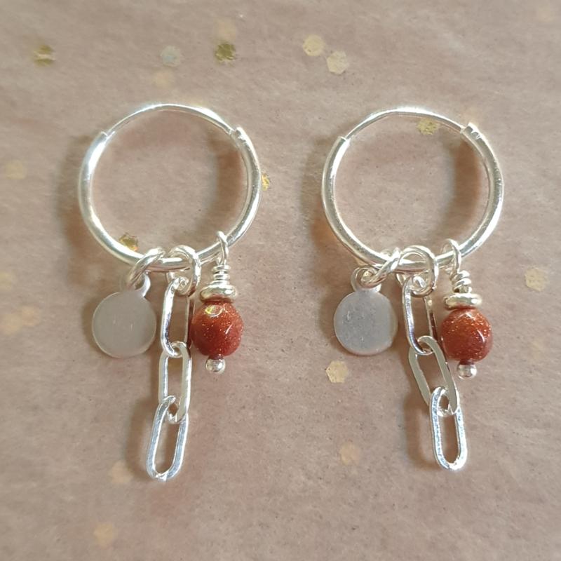 Silver earrings // Goldstone