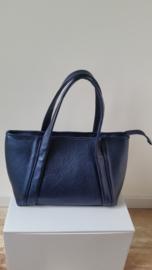 blauwe handtas van glanzend leer 30 cm breedbij 26 cm hoog