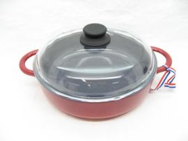 Gietijzeren braadpan 28 cm met glasdeksel