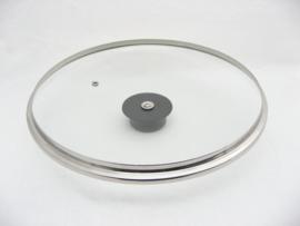 Glasdeksel 28 cm met stootrand