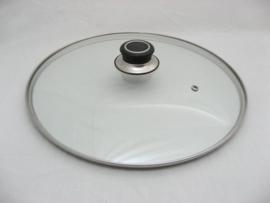 Glasdeksel 32 cm met stootrand