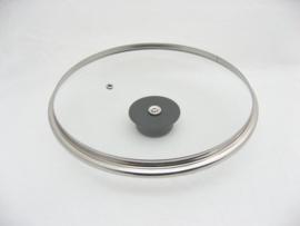 Glasdeksel 24 cm met stootrand