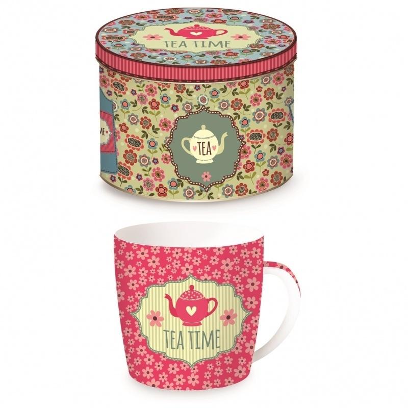 Mok Tea Time  in blik roze - Easy Life Design
