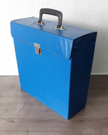 Vinyl lp's / langspeelplaten opbergkoffer, licht blauw (30 - 35 lp's)