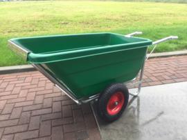 Kruiwagen SB 400 L 'dubbel wiel', kantelbaar (PP/PE + volbad verzinkt)