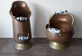 Vintage koperen paraplu- / openhaardbakken (twee stuks)