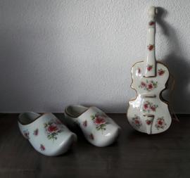 Modica Gouda Plateel klompen + viool (rozen- /bloemenmotief)
