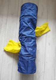 Speeltunnel voor katten/kleine honden (110 x 30 cm), blauw/geel