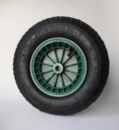 Kruiwagenwiel luchtband, blok profiel, 4.80 / 4.00-8, inclusief kunststof velg