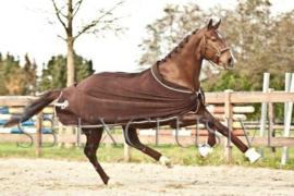 Luxe wollen paarden statiedeken, 800 grams vulling, donker bruin
