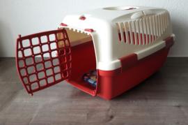 Transportbox voor katten / kleine honden (48 x 32 x 30 cm), wit / rood
