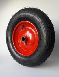 Kruiwagenwiel luchtband, lijn profiel, 4.80 / 4.00-8, inclusief stalen velg met vetnippel