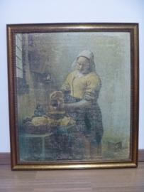 Reproductie schilderij 'Het melkmeisje' in mooie houten lijst