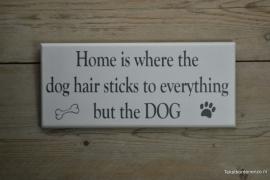 Tekstbord Home is where the dog hair sticks..