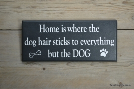 Tekstbord Home is where the dog hair sticks..