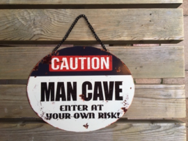 Tekstbord Caution Man Cave (ovaal)