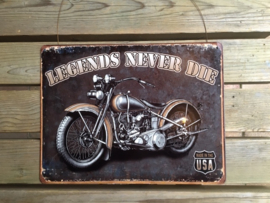 Tekstbord Legends never die