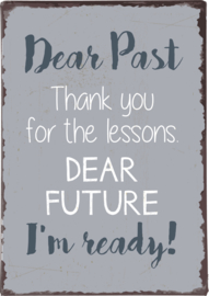 Tekstbord Dear Past, Thank you for the lessons