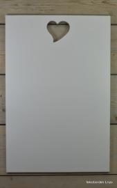 """Tekstbord """"Eigen tekst"""", 40 x 60 cm met uitgezaagd hart"""