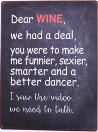 Tekstbord Dear Wine (zwart)