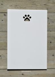 """Tekstbord """"Eigen tekst"""", 40 x 60 cm met uitgezaagd pootje"""