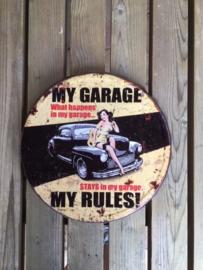 Tekstbord Bierdop My garage my rules