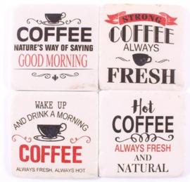 Onderzetters coffee teksten (wit/rood)