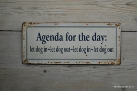 Tekstbord Agenda for the day