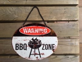 Tekstbord Warning BBQ Zone (ovaal)