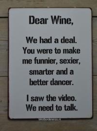 Tekstbord Dear Wine