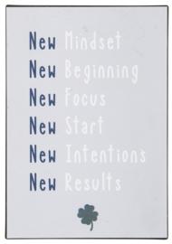 Tekstbord New mindset...