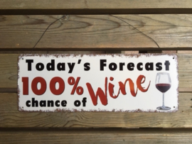 Tekstbord Today's Forecast 100 % chance of Wine (36 cm)