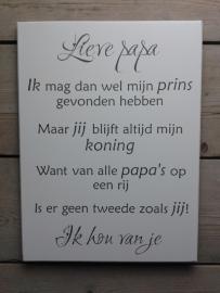 Tekstbord Lieve Papa, 30 x 40 cm