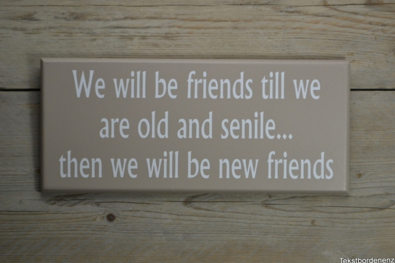 Tekstbord We will be friends till we are old and senile...