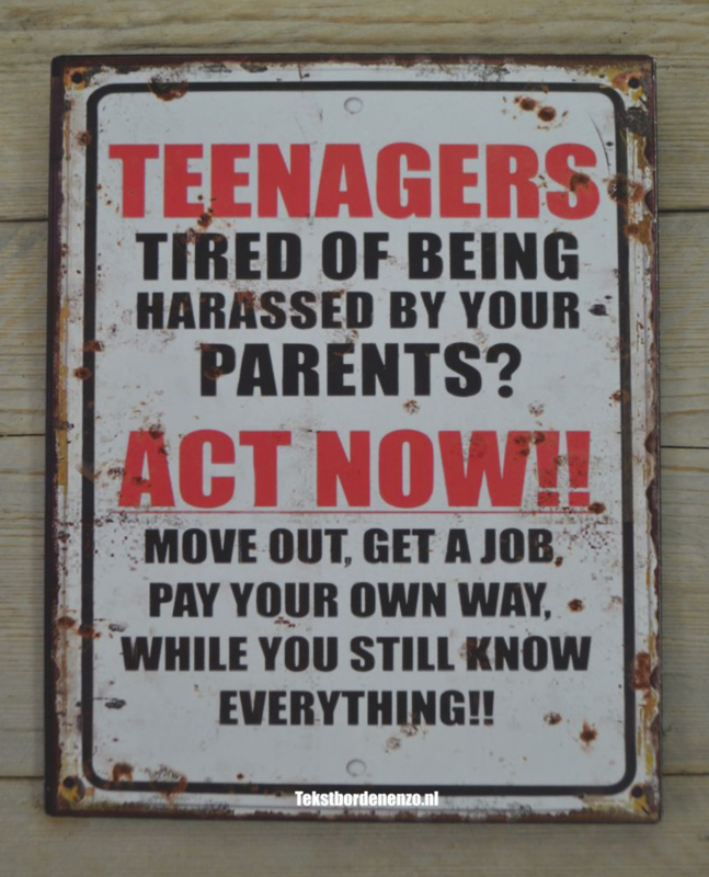 Tekstbord Teenagers act now