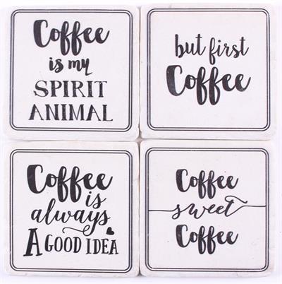 Onderzetters met coffee teksten (wit/zwart)
