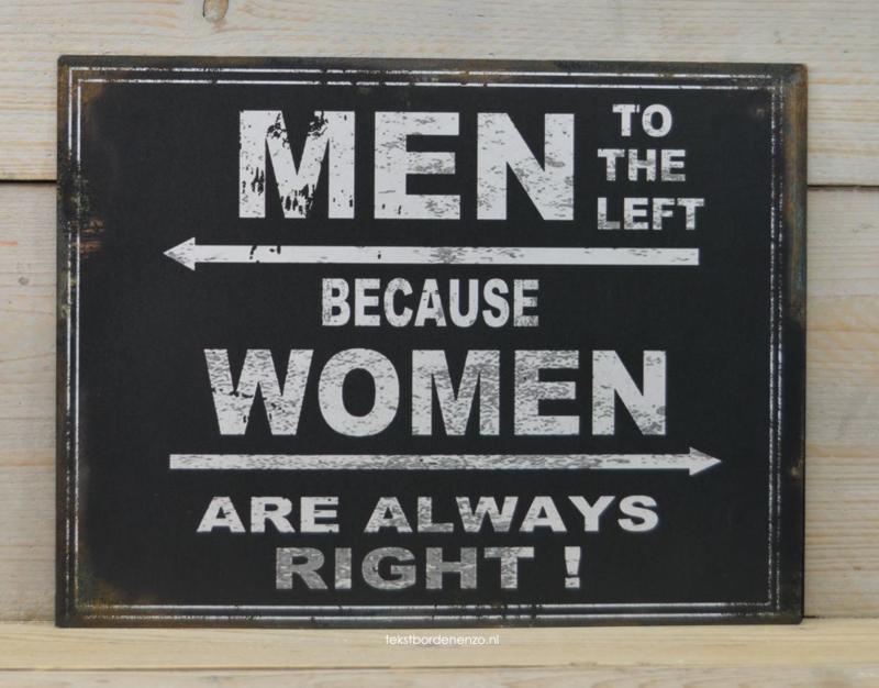 Tekstbord Men to the left (groot)