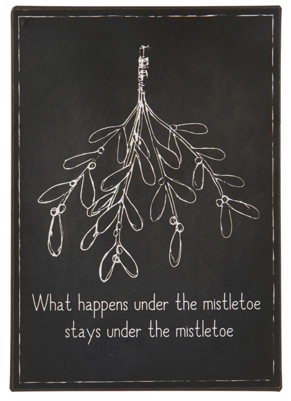 Tekstbord What happens under the mistletoe...