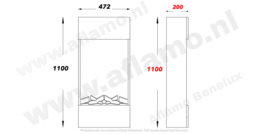 Aflamo Straight wit - Smalle hoge ombouw met elektrische LED haard