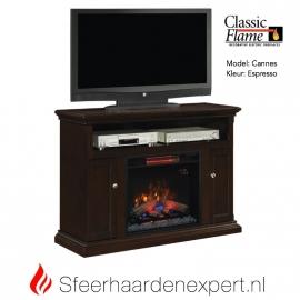 TV meubel Classic Flame elektrische sfeerhaard met schouw Cannes Espresso
