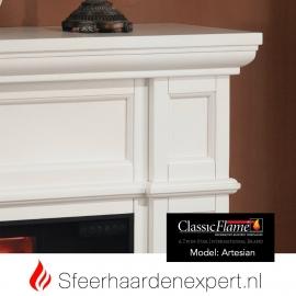 Classicflame schouw ombouw Artesian Wit met elektrische sfeerhaard CF28