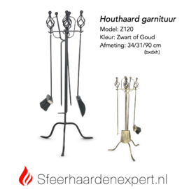 Houthaard accessoire garnituur met veger/blik/pook Z120