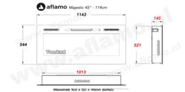 Aflamo Majestic Wit 114cm - Witte elektrische inbouw sfeerhaard