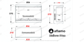 Aflamo Mallorca 84cm - 3 zijdige inbouwhaard